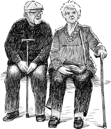 Vector drawing of the elderly spouses. Illustration