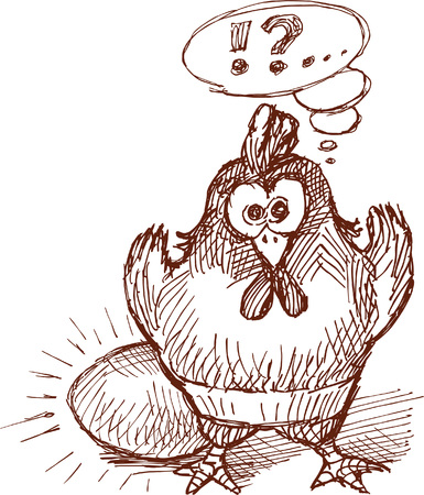 Vectorial drawing of a hen in style of a sketch.