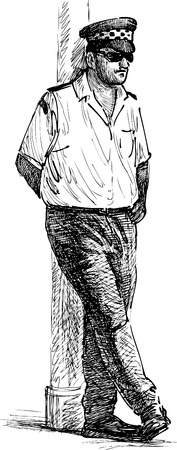 english culture: Vector drawing of a maltese taxi driver.