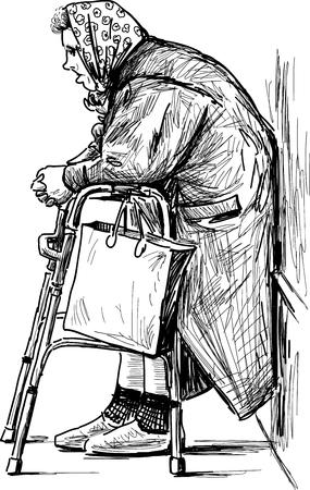 Vector sketch of a poor old woman.