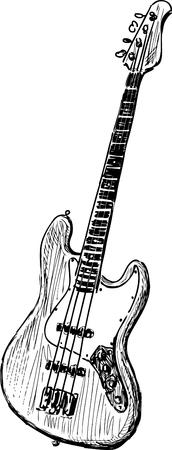 Vector sketch of an electric bass guitar. Vectores