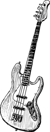 Vector sketch of an electric bass guitar. Stock Illustratie