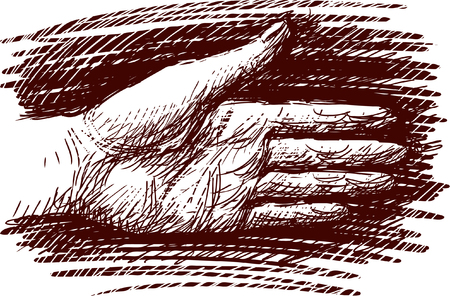 Vector sketch of a human hand. Illustration