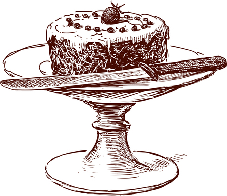 Vector drawing of a cake on a vintage bowl.