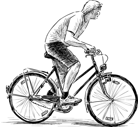 Sketch of the young man rides a bicycle. Vectores