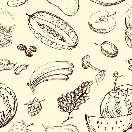 Vector drawn of various fruit.