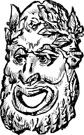 Sketch of an ol classical dramatic mask.