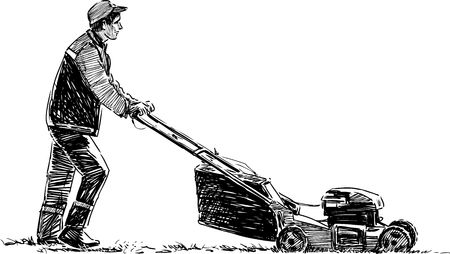 Vector sketch of a lawnmower in the urban park. Illustration