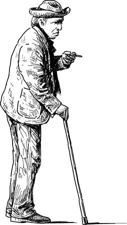 Vector image of an old man on a stroll.