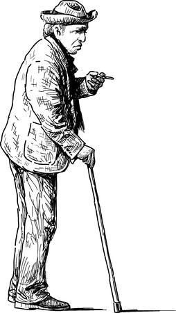 Vectorbeeld van een oude man op een wandeling.