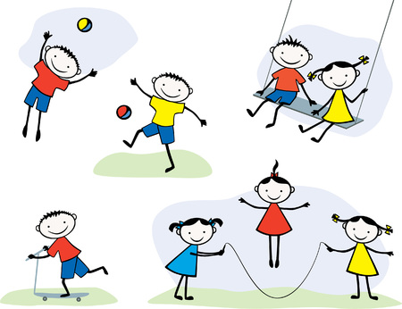 The vector image of cheerful playing children.