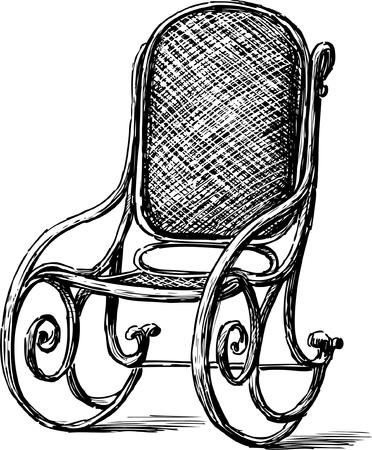Image Vecto d'une vieille chaise à bascule.