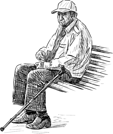 bench alone: Vector sketch of an old man resting in the city park.