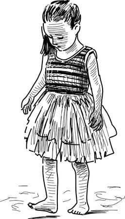 tread: Sketch of a little girl walking a barefoot.