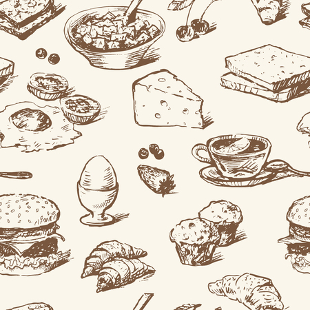 Vector drawings of various foods for breakfast in the style of the sketch.