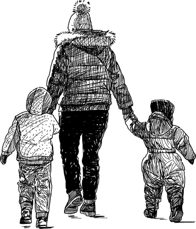 backview: Vector sketch of mother with her kids on a walk.