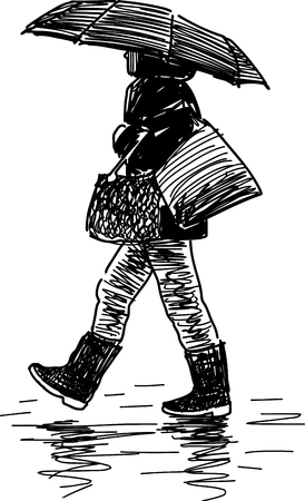 Sketch of a townswoman under the umbrella. Illustration