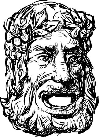 Dibujo vectorial de una vieja máscara teatral clásica.