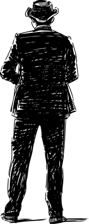 Vector image of the silhouette of a ma in the black suit.
