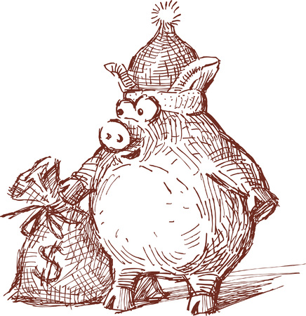 hoofs: Vectori drawing  of a celebratory piglet with a gift - a bag of money.
