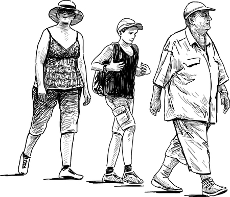 Vector drawing of the family on a stroll. Illustration