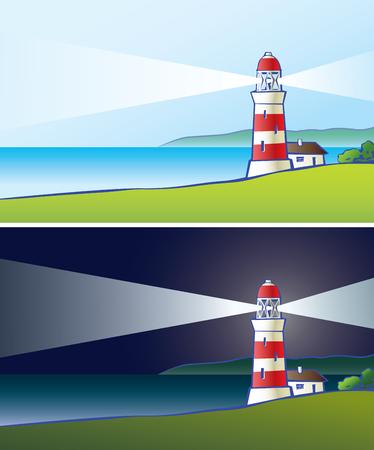 Vector drawing of a shone beacon ashore.