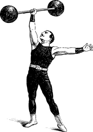 hand with dumbbell: Vector image of a vintage athlete.