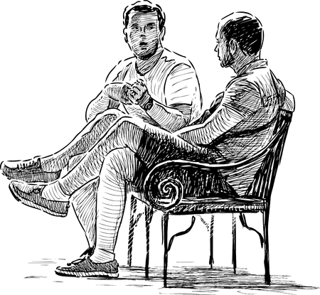 The vector drawing of the men talking on the park bench. Vectores