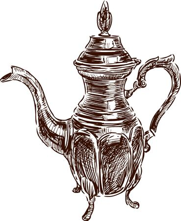 Vector drawing of an ancient coffe pot.