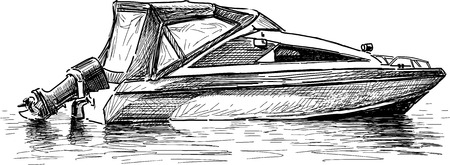Vector drawing of a river motorboat.