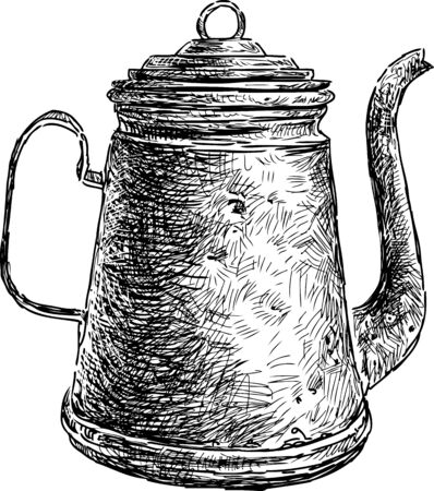 The vector image of an old coffee pot. Illustration