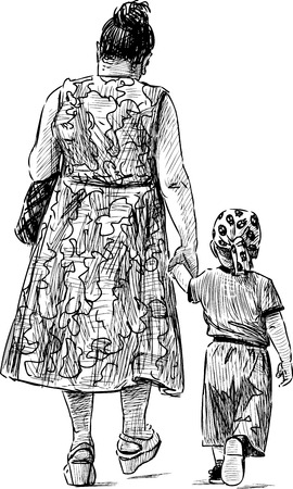 The sketch of a grandmother with her grandson on a walk. Çizim