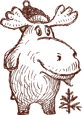 Vector drawing of a ridiculous elk in style of a sketch. Ilustração