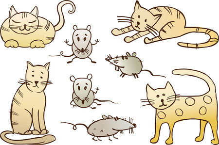 Vector drawing of different cats and rats in style of a sketch.