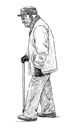 The vector sketch of a walking old man.