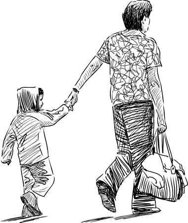 backview: Vector sketch of a parent and kid on a stroll.