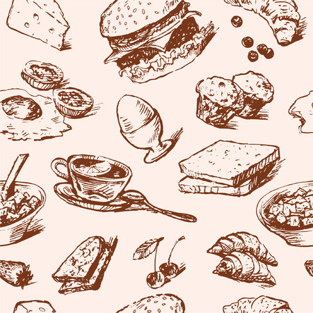 Vector background with a various foods for breakfast in the style of the sketch. Çizim