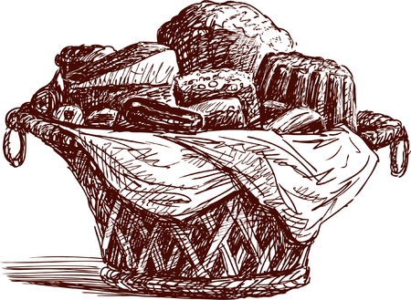 The vector image of the basket with the different fresh breads. Illustration