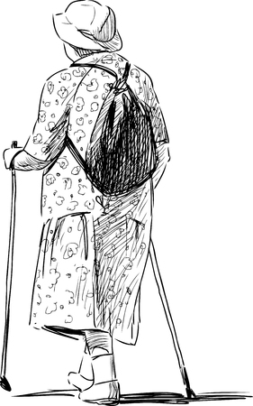 striding: Vrctor sketch of an old woman walks with the norvegian sticks. Illustration