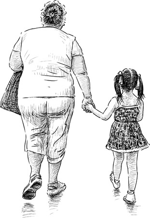 The vector drawing of a grandmother with her granddaughter on a walk. Illustration