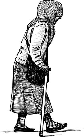 De schets van een wandelende arme oude vrouw.