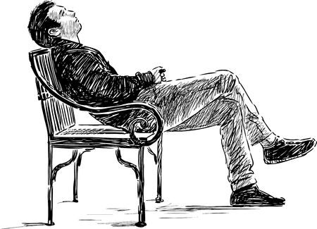 Vector drawing of an young men relaxing on the park bench.