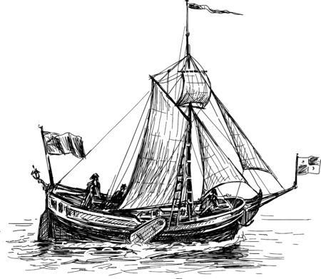 Image of an old sailing boat in the ocean