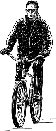 The vector sketch of a person rides on a bike.