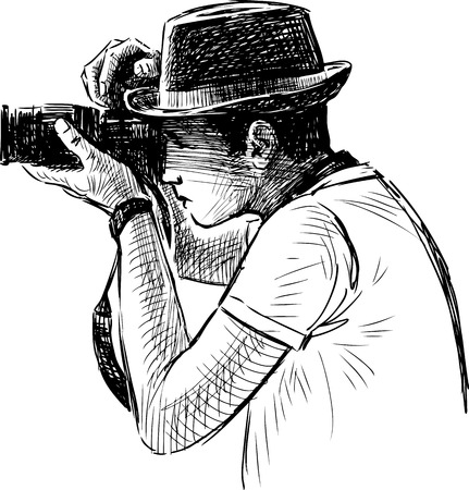 Vector drawing of a casual man takes photo.