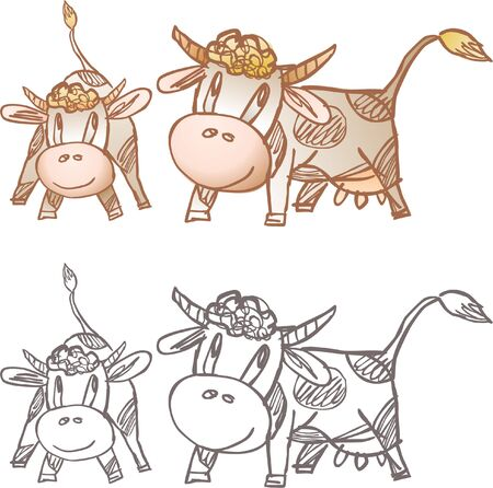 hoofs: Vector drawing of a cow and calf in style of a sketch Illustration