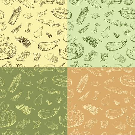 Contexte vectoriel avec des légumes et des fruits différents. Banque d'images - 80108682