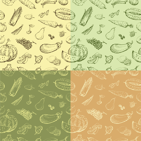 foodstuff: Vector background with a different vegetables and fruit. Illustration