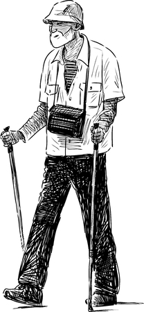 Vector drawing of an old man in the norwegian walking. Illustration