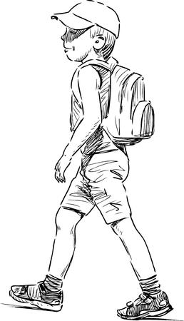 hand movement: Vector sketch of a walking little boy. Illustration